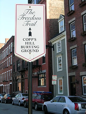 Copp's Hill - A Freedom Trail sign on Copp's Hill with the Skinny House in the background