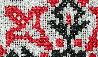 Even-weave - Cross-stitch on even-weave fabric, Hungary, mid-20th century