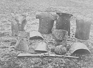 Dan Kelly (bushranger) - Dan Kelly's and Steve Hart's armour recovered from the hotel after it was burnt. In the foreground is Ned Kelly's rifle and skull cap.