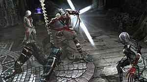 Dante's Inferno (video game) - Dante using the Holy Cross to absolve one of Hell's minions.