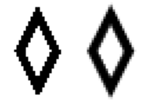 Pixelation - A diamond without and with antialiasing