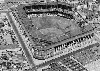 Flatbush, Brooklyn - An aerial view of Ebbets Field