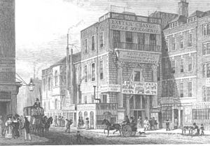 Exeter Exchange - Engraving of Exeter Exchange from 1829, viewed from the east, looking west down the Strand.
