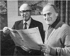 Fenby (left) and Yehudi Menuhin with a Delius ...