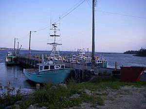 Forbes Point, Nova Scotia - Cape Island style boats at the wharf