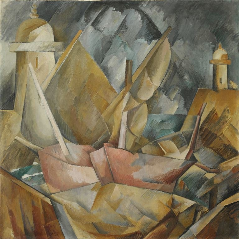 Georges Braque, 1909, Port en Normandie (Little Harbor in Normandy), 81.1 x 80.5 cm (32 x 31.7 in), The Art Institute of Chicago