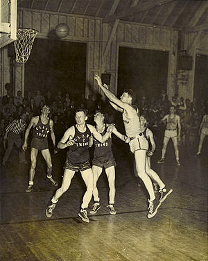 Glenn Roberts (basketball) - Shooting a jump shot, c. 1941.