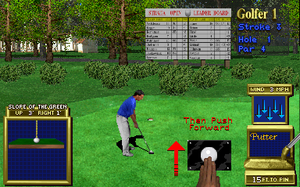 Golden Tee Golf - The success of Golden Tee 3D started a succession of yearly releases for the franchise, here the game illustrates its trackball-based controls.
