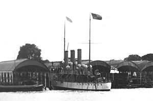 Alarm-class torpedo gunboat - HMS Speedy being launched at Chiswick on 18 May 1893