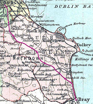 Harcourt Street railway line - The line, in red, in 1887