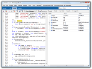 Internet Explorer 8 - Internet Explorer 8 Developer Tools in a JavaScript debugging session