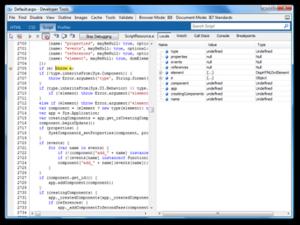 Internet Explorer 8 - Internet Explorer 8 Developer Tools in a JavaScript debugging session