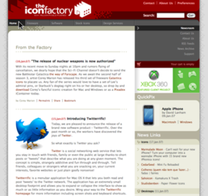 The Iconfactory - Version 6 homepage.