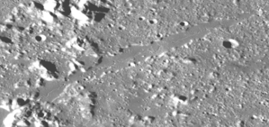 Vallis Alpes - Closeup of Vallis Alpes from Lunar Reconnaissance Orbiter data.  The center rille is clearly visible.
