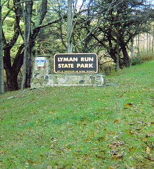 Lyman Run State Park -  The entrance sign for Lyman Run State Park