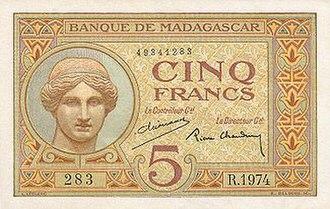Malagasy franc - 5 francs ca. 1937