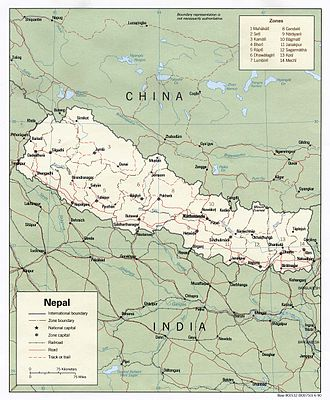 Outline of Nepal - An enlargeable map of the Federal Democratic Republic of Nepal