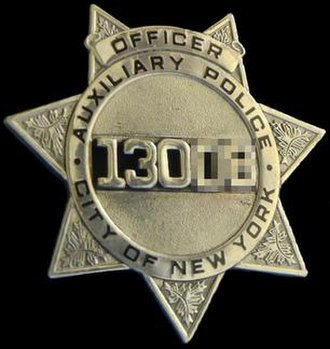 New York City Police Department Auxiliary Police - Image: NYPD AUXILIARY BADGE