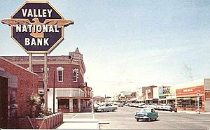Valley National Bank of Arizona - Valley National Bank branch in Safford in the 1950s, prominently showing the bank's longtime octagonal logo