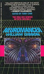 "Book cover of ""Neuromancer"" containing geometric shapes."