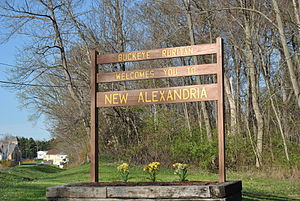 New Alexandria, Ohio - Welcome sign near west entrance of the village