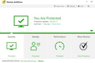 Norton AntiVirus - The main GUI of Norton AntiVirus 2016-present
