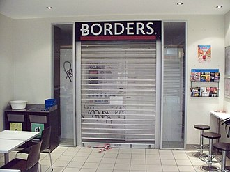 Borders (Asia Pacific) - The remaining Borders signage at the back of Lygon Court, Carlton in Melbourne. This picture was taken during renovations in October 2012, preparing for iconic Carlton pasticceria, Brunetti Café, to relocate there. Borders Lygon Court operated from 2002 until 2011.
