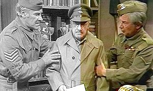 Dad's Army missing episodes - Left: The 16mm black and white copy. Right: The restored colour version.