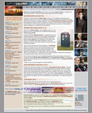 Outpost Gallifrey - Outpost Gallifrey front page on 23 August 2006