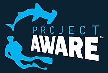 "Logo: a hammerhead shark, a diver and the words ""Project Aware"""