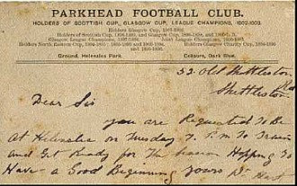 Braidfauld - A ticket to the game - in 1903