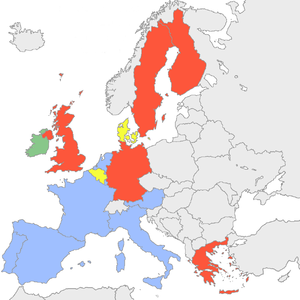 Parties in the European Council during 2003 - The member-states of the European Union by the European party affiliations of their leaders, as of 1 January 2003.