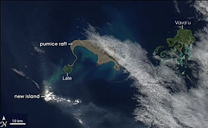 Maritime impacts of volcanic eruptions - Satellite view of a pumice raft from an undersea eruption in Tonga