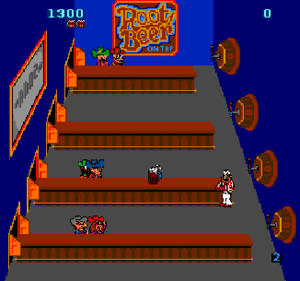 Tapper - Root Beer Tapper is almost identical to the Budweiser version, except the player character is a soda jerk serving non-alcoholic root beer.