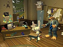 An anthropomorphized dog and rabbit in an office. The office is dilapidated, the windows are boarded up and the walls strewn with bullet holes.