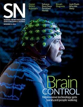 Magazine cover showing a brain-computer tool designed to help paralyzed patients walk.
