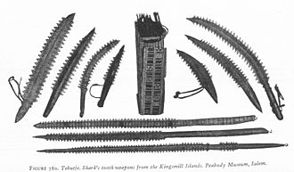 Shark tooth - Gilbertese weapons edged with shark teeth.