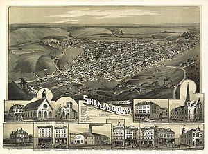 Shenandoah, Pennsylvania - 1889 Panoramic Map of Shenandoah, Pennsylvania