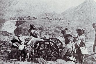 "RML 2.5-inch mountain gun - Sikh gunners with a ""screw gun"""