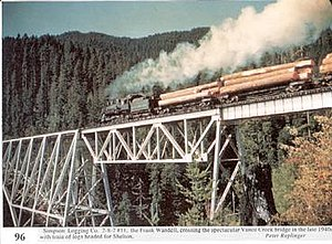 Simpson Investment Company - A picture taken in the 1940s of the Vance Creek Bridge with a Simpson train.