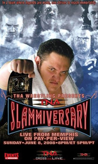 Slammiversary (2008) - Promotional poster for the event featuring Booker T, Christian Cage, Rhino, Samoa Joe, and Tomko