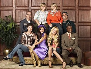 The Suite Life of Zack & Cody - Bottom row (from left to right): Carey Martin, London Tipton, Maddie Fitzpatrick and Mr. Moseby. Top row (from left to right): Arwin Hawkhauser, Zack Martin, Cody Martin and Esteban Ramirez.