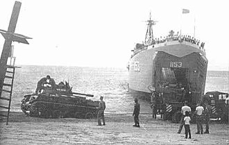 M42 Duster - USS ''Talbot County'' (LST-1153) offloads M42 Dusters of the 517th Artillery at the Río Hato training area in Panama during 1965 war games.