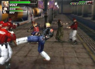 The Bouncer (video game) - Gameplay in The Bouncer. The player is controlling Volt. Sion and Kou are being controlled by the AI. The players' health is on the top left; the enemy's on the top right.