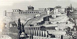 Library of Pergamum - Pergamon Acropolis, drawn by 19th century German archaeologists