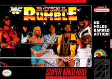 Video game cover of WWF Royal Rumble for the SNES, depicting WWF superstars Bret Hart, The Undertaker, Mr. Perfect, Yokozuna, Razor Ramon, and Shawn Michaels with the original Royal Rumble logo.