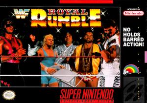 WWF Royal Rumble (1993 video game) - SNES cover art featuring Bret Hart, The Undertaker, Mr. Perfect, Yokozuna, Razor Ramon and Shawn Michaels