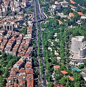 Yıldız - An aerial view of Yıldız, the palace buildings can be seen at top right.