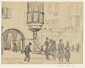 Grahame King - Colmar, Alsace 1949,  watercolour, (1949)