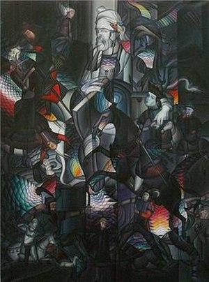 Bahram Alivandi - Ferdowsi and His Mythos, c.1980s, Vienna, Private Collection. Oil on canvas, 200 x 150 cm.